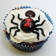 black widow spider cupcake