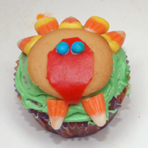 candy corn turkey cupcake