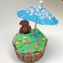 Umbrella cupcakes with toucan bird