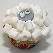 easy sheep cupcake