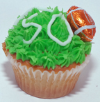 Super Bowl cupcake with chocolate football