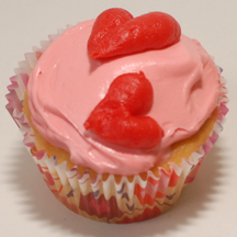 piped heart cupcake