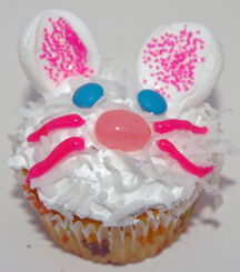 Easter bunny cupcake with marshmallow ears