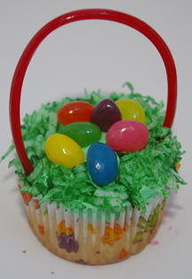Easter basket cupcake with licorice handle