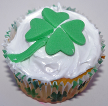 St. Patrick's Day cupcake with fondant clover