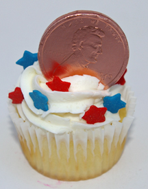 Lincoln penny cupcake