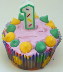 baby's first birthday cupcake