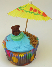 teddy bear in life preserver cupcake