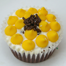 sunflower cupcakes with yellow mints