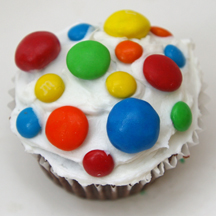 cupcake with M&M dots