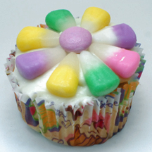 flower cupcake with candy corn
