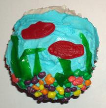 Fish bowl cupcake