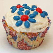 Patriotic flower cupcake