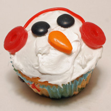 Earmuff Snowman cupcake