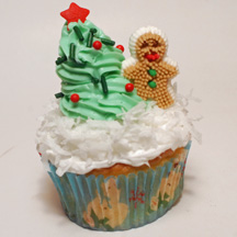Gingerbread boy and tree cupcake