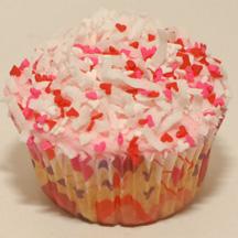 Valentine's Day coconut sprinkles cupcake