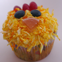 Fuzzy chick cupcake