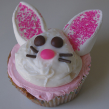 Easter bunny cupcake on pink