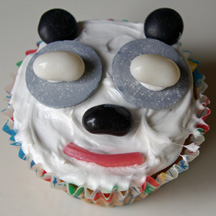 Candy panda bear cupcake