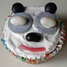 Candy panda bear cupcake
