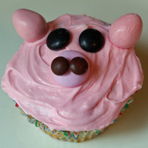 Pink pig snout cupcake
