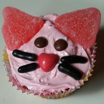 Pink kitty cupcake