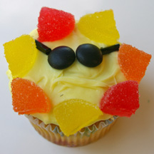 Sun cupcake with sunglasses