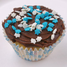 Hanukkah sprinkles cupcake