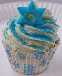 Blue Star of David cupcake