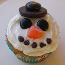 Minty snowman cupcake