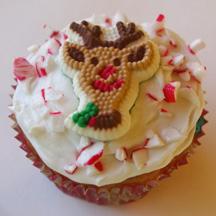 Peppermint reindeer cupcake