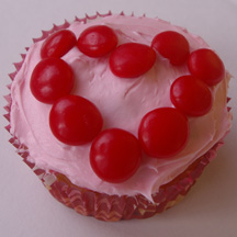 Red hot hearts cupcake