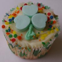 Candy heart shamrock cupcake