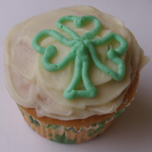 Piped clover cupcake