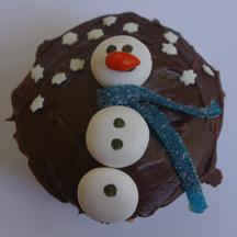 Mentos snowman cupcake