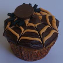 Hershey's Kiss spider web cupcake